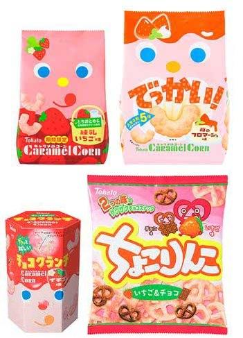 ↑ 上段左から「キャラメルコーン・練乳いちご味」「でっかい!キャラメルコーン・苺のフロマージュ味」、下段左から「チョコクランチキャラメルコーン・イチゴ味」「ちょこりんこ・いちご&チョコ」