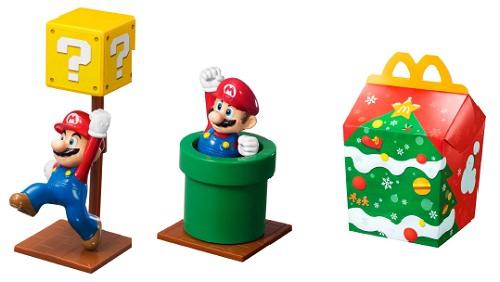 ↑ ハッピーセットのおもちゃ一例とハッピーセットボックス・クリスマスデザイン