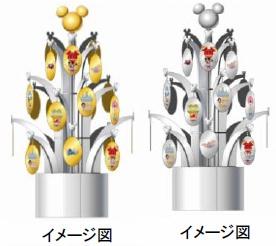 ↑ 「ディズニー 純金/銀製ミニクリスマスツリー 2013」(左)と「ディズニー 銀製ミニクリスマスツリー 2013」(いずれもイメージ図)