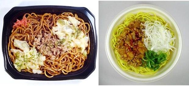 ↑ 富士宮やきそば(左)とレンジ勝浦タンタンメン(右)