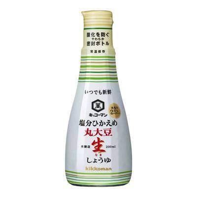 ↑ キッコーマン いつでも新鮮 塩分ひかえめ丸大豆生しょうゆ 200ml