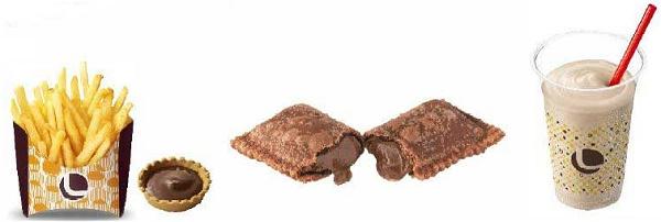 ↑ 左から「つけポテ(ガーナミルクチョコレート)」「ガーナミルクチョコレートパイ」「ガーナミルクチョコレートシェーキ」