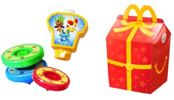↑ ハッピーセットのおもちゃ一例と、ハッピーセットボックス