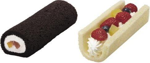 ↑ 「節分 7つのフルーツロールケーキ」(左)と「節分 スペシャルロールケーキ」(右)