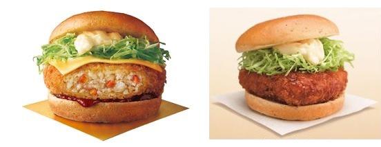 ↑ メンチ勝(カツ)サンド(左)と和風チキン勝(カツ)サンド(右)