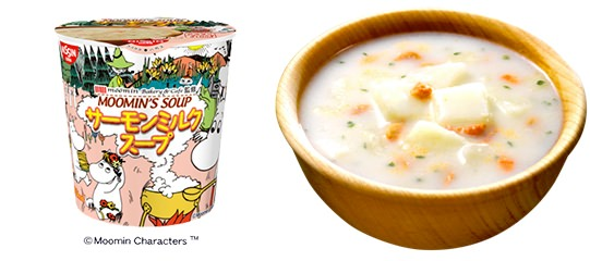 ↑ MOOMIN'S SOUP サーモンミルクスープパッケージ外観(左)とスープ(イメージ、右)