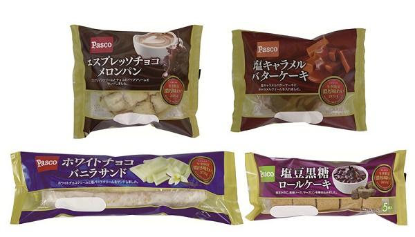 ↑ 上段左から「エスプレッソチョコメロンパン」「塩キャラメルバターケーキ」、下段左から「ホワイトチョコバニラサンド」「塩豆黒糖ロールケーキ」