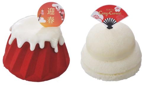↑ 「初夢の赤富士ケーキ」(左)と「鏡餅ケーキ」(右)