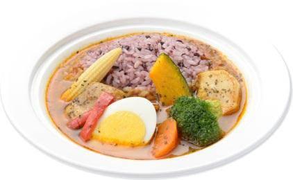 ↑ 野菜と食べるスープカレーライス