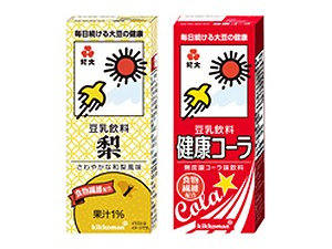 ↑ 「紀文 豆乳飲料 梨」(左)と「紀文 豆乳飲料 健康コーラ(右)