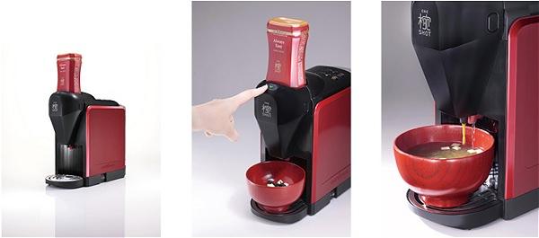 ↑ 家庭用みそ汁サーバー「椀ショット 極」と使用イメージ