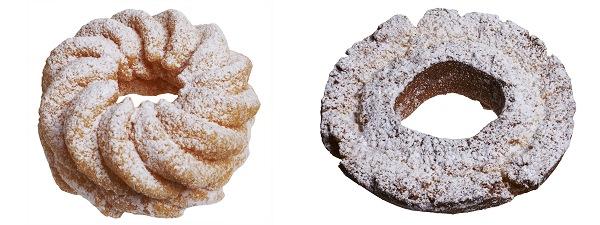 ↑ 粉雪フレンチクルーラー(左)と粉雪オールドファッション(右)