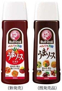↑ 「うまソース トマトタイプ300ml」(左)と既存商品の「うまソース」