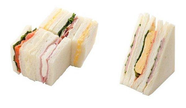 ↑ サンドイッチ・ハンバーガー部門「ミックスサンドBOX」「玉子焼きとハムのサンド」