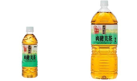 ↑ 爽健美茶 復刻ブレンド。左が500ミリリットルペットボトル、右が2リットルペットボトル