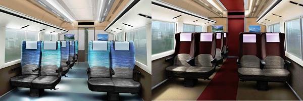 ↑ 普通車室内(左)とグリーン車室内(右)のイメージ