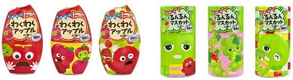 ↑ 「玄関・リビング用 消臭力(わくわくアップルの香り)」(左)と「消臭力 トイレ用(るんるんマスカットの香り)」(右)