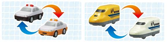 ↑ VO1.パトカー/タクシーとTO3.923形ドクターイエロー/700系新幹線