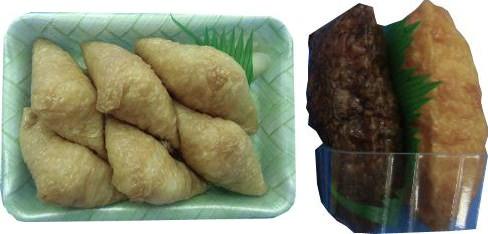 ↑ 2色いなり寿司(左)とミニいなり6個入り(右)