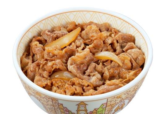↑ すき家の牛丼(メニューページより)