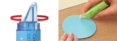 ↑ 回転式ヘッドの採用でカーブでもバッチリとのり付けができる