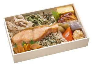 ↑ 「郷土(ふるさと)のうまい! 秋田男鹿産鮭の食んべてけれ弁当」