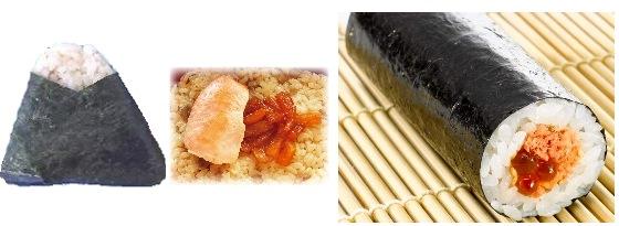 ↑ 秋田のうまい! 鮭しよっつる漬焼(左)と手巻寿司 秋田産鮭といくら(右)