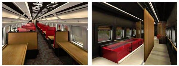 ↑ お座敷指定席車両内(左)/足湯車両内(右)イメージ