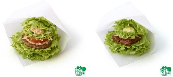 ↑ モスの菜摘 モス野菜オーロラソース仕立て(左)と同テリヤキチキン(右)