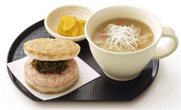 ↑ モスの朝ライスバーガー朝御膳「鮭」