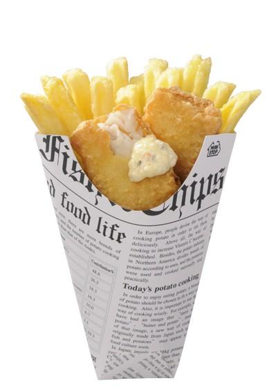↑ フィッシュ&チップス(タルタルソース付き)