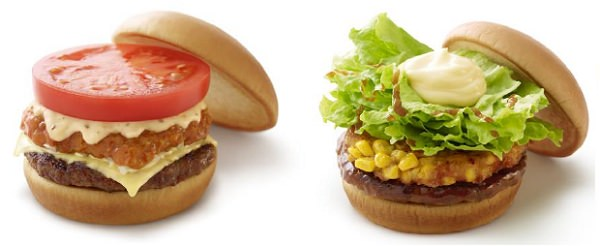 ↑ 左から「リッチモスチーズバーガー ゴルゴンゾーラチーズソース」「テリヤキバーガー コーンの香ばし揚げ」