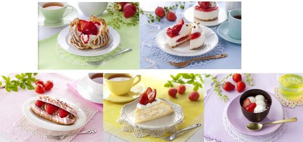 ↑ UchiCafeSWEETS 春コレ。上段左から「シュークリーム」「レアチーズケーキ」、下段左から「ショコラエクレール」「ミルクレープ」「ぜんざい」
