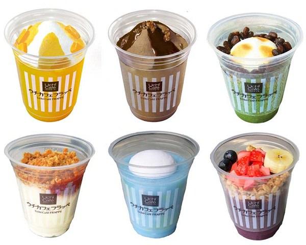 ↑ ウチカフェフラッペ。上段左から「マンゴー」「チョコレート」「抹茶&小豆」、下段左より「ストロベリーチーズケーキ」「クリームソーダ」「アサイーボウル」