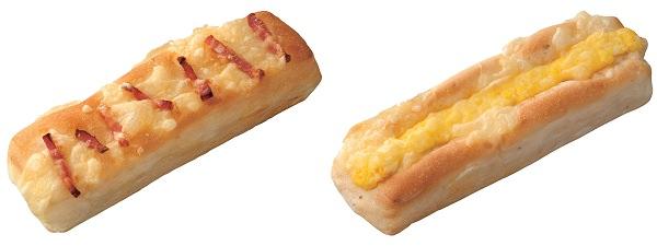 ↑ エッグ&チーズブレッド(左)とベーコン&チーズブレッド(右)