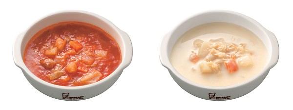 ↑ 野菜を食べるミネストローネ(左)と小柱と野菜のクリームチャウダ(右)