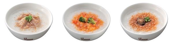 ↑ 左からぽかぽか生姜の鶏粥、チーズが香る野菜粥、蟹・鮑・フカヒレのごちそう粥
