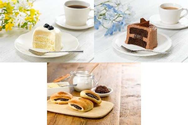 ↑ 上段左から「ピュアチーズケーキ」「ピュアチョコケーキ」、下段が「ピュアあんこバターロール」