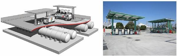 ↑ 杉戸燃料備蓄基地全体イメージ(左)と外観(右)