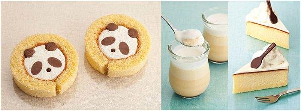 ↑ 左から「ふんわりパンダロール」「ジャージー牛乳の極上プリン」「ジャージー牛乳のミルクスフレチーズケーキ」