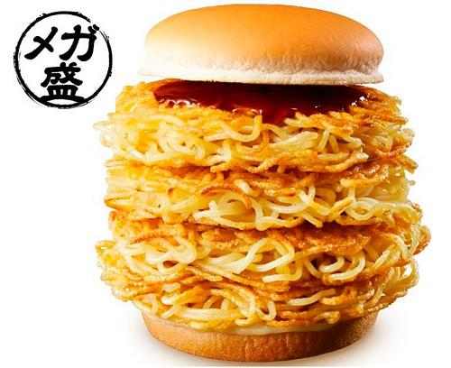 ↑ 4枚の麺が輝くメガ盛な「大勝軒 元祖つけ麺バーガー」