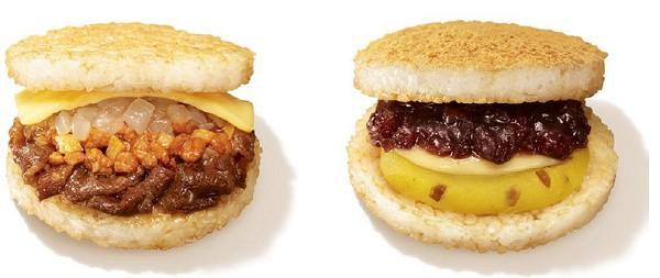 ↑ 左から「ミスドのライスバーガー 担々牛焼肉」「ミスドのライスバーガー あん&カスタード」