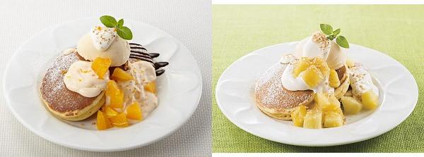 ↑ 左から「オレンジクリームパンケーキ」「パイナップルとココのパンケーキ」