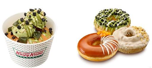 ↑ ドーナツ アイス グリーンティー&クッキー(左)と夏限定のドーナツ3種類「ベルガモット&レモンティー」「抹茶 クッキー クランチ」「アール グレイミルクティー ケーキ」(右)