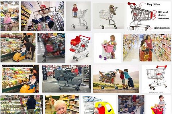 ↑ 「shopping cart child」(英語で「ショッピングカート」「子供」)で画像検索をした事例。子供に配慮したものもあれば、「これは今すぐにでも事故を起こしかねない」というものも