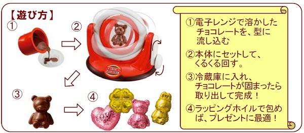 ↑ 「くるくるチョコレート工場」による型を使った立体チョコレートの創り方