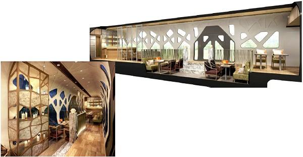 ↑ ラウンジエリアはまさに「動くホテルラウンジ」。高い天井がゆとりある空間を演出する