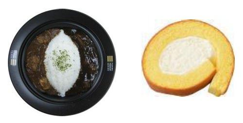 ↑ 左から「ファミマプレミアム 2種類のビーフカレー」「同 濃厚口どけロール」
