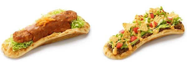 ↑ 左から「モスのナン スパイスチキンカレー」「モスのナン スパイスミートタコス」