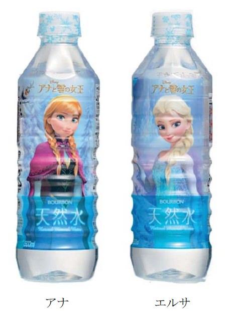 ↑ 天然水PET500ml(アナと雪の女王)(裏と表にそれぞれ描かれている)